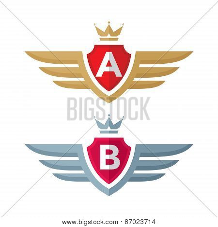 Vintage badge - vector logo concept illustration. Shield, crown, wings and monogram.