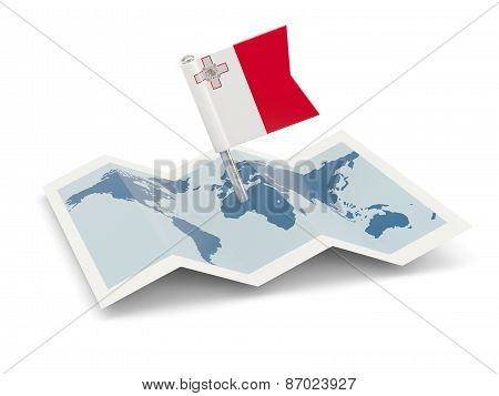 Map With Flag Of Malta