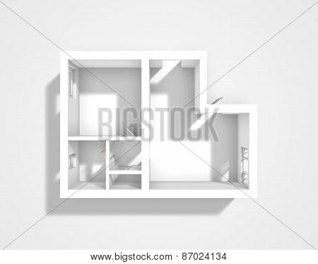 Empty 3d apartment