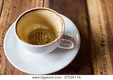 Empty Coffee Cup On Wood Table.
