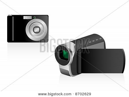 Illustration of a videocamera and a photo camera