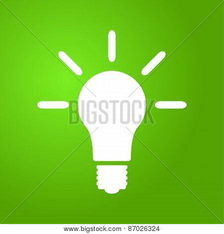 Light bulb icon on green background