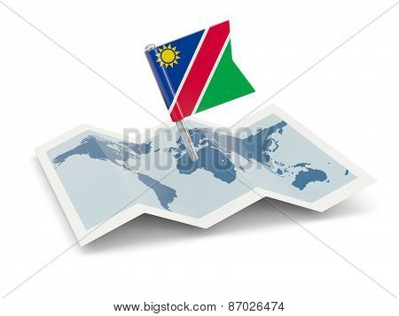 Map With Flag Of Namibia
