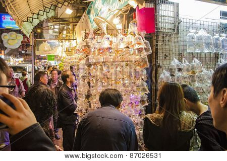 Hong Kong, China- December 09, 2013: People At The Goldfish Market In Mong Kok