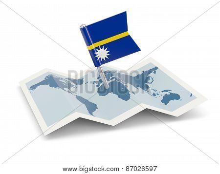 Map With Flag Of Nauru