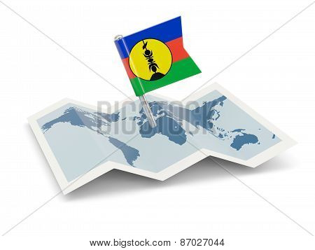 Map With Flag Of New Caledonia