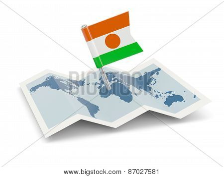 Map With Flag Of Niger