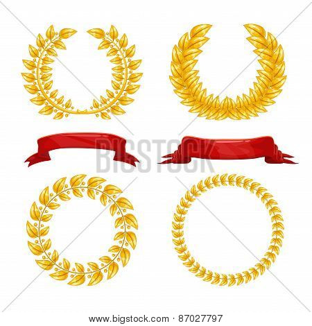 Laurel wreaths and red ribbons