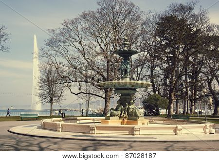 English Park with beautiful fountain