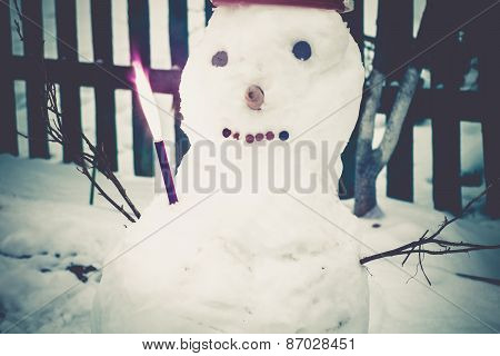 Retro Snowman In Red Bucket