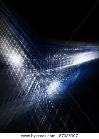 Dark blue abstract background. Digitally generated image