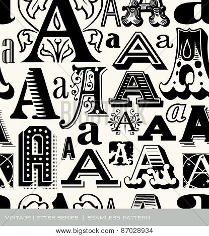 Seamless vintage pattern of the letter A