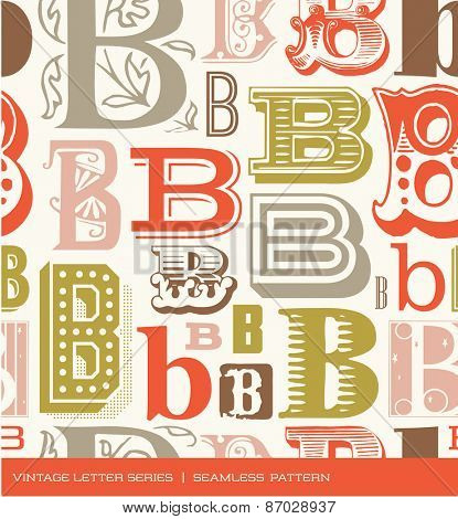 Seamless vintage pattern of the letter B in retro colors