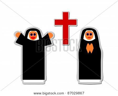 Simple icon of christian nun rejoicing and praying front red cross