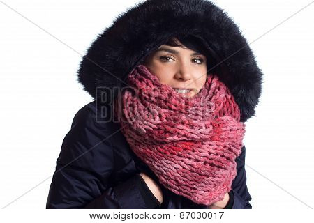 Girl with winter coat and scarf