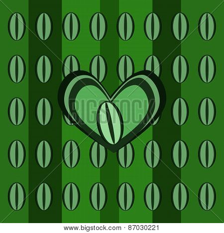Abstract background with green coffee beans and heart pattern