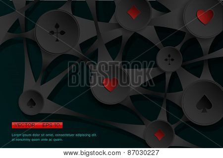 Abstract background with playing cards symbol. Vector illustration.