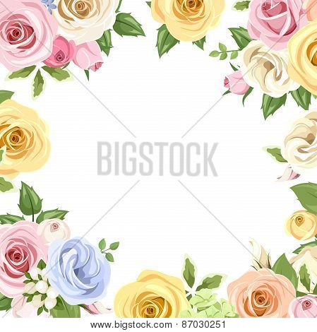 Card with colorful roses and lisianthus flowers. Vector eps-10.