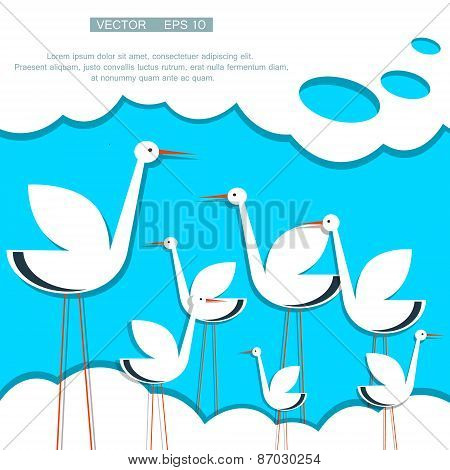 stylized stork on a background of blue sky with clouds