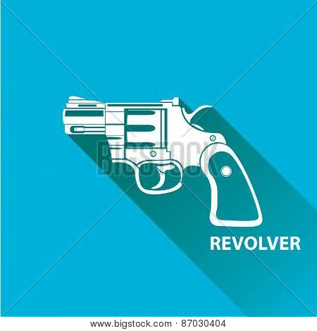 vector vintage pistol gun icon on blue