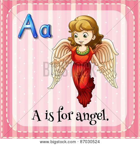 Flashcard letter A is for angel