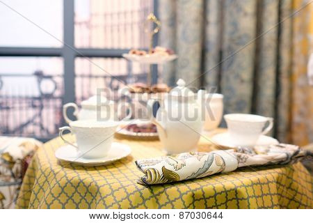 Beautiful tea service on the table