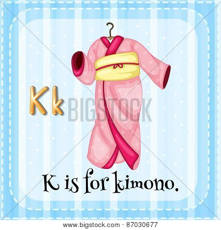 Flashcard letter k is for kimono