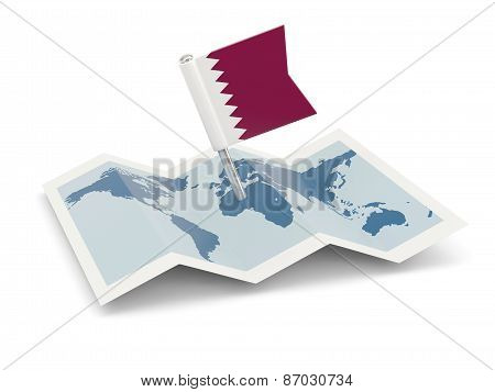 Map With Flag Of Qatar