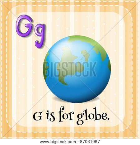 Flashcard letter G is for globe
