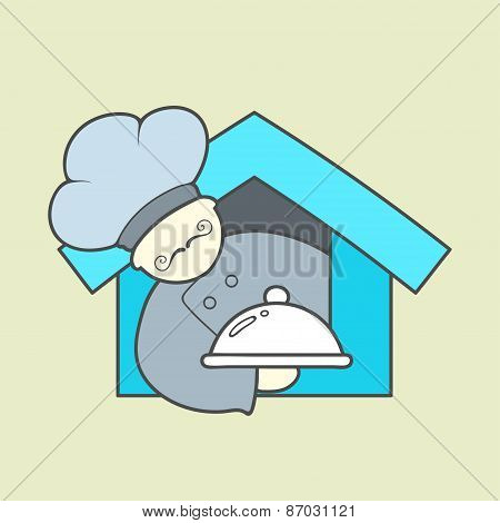 Flat vector icon of cute chef, mustaches and tray with lid