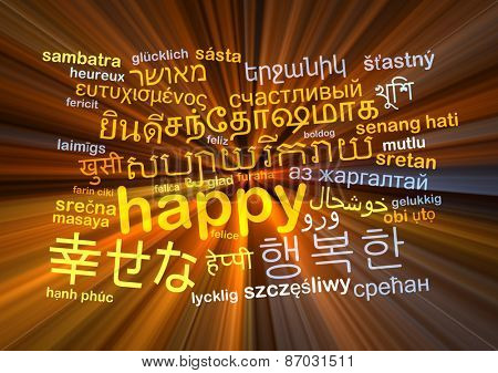 Background concept wordcloud multilanguage international many language illustration of happy glowing light