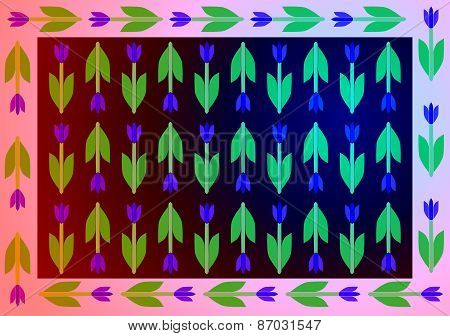 Stylized decorative floral retro pattern