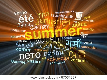 Background concept wordcloud multilanguage international many language illustration of summer glowing light