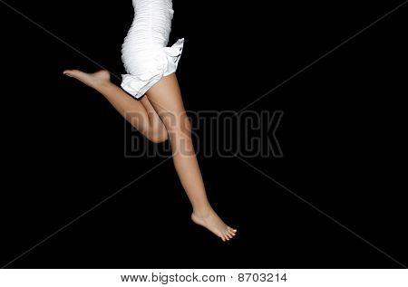 Barefoot woman running
