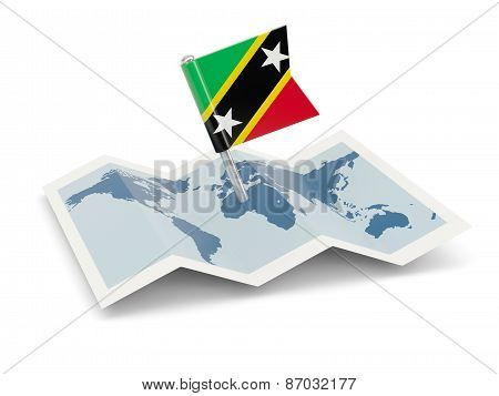 Map With Flag Of Saint Kitts And Nevis
