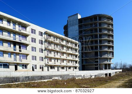 The Unfinished Residential Building Construction In Pasilaiciai