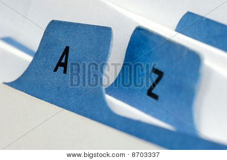 Blue file cards A and Z