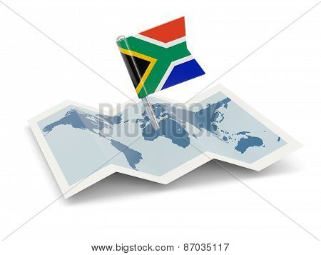 Map With Flag Of South Africa