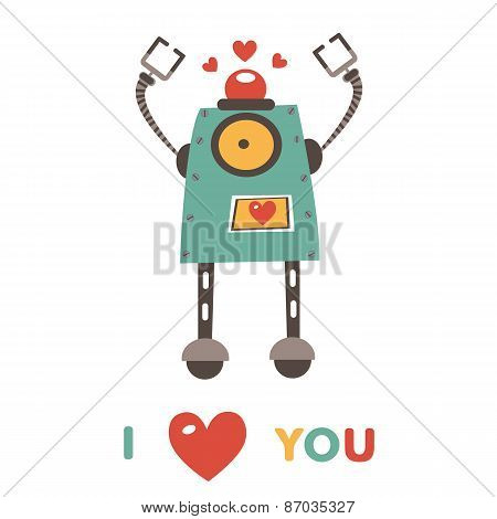 Colorful robot in love character