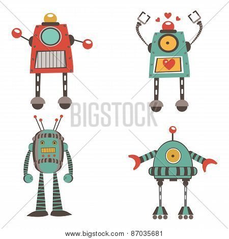 Colorful robot characters collection