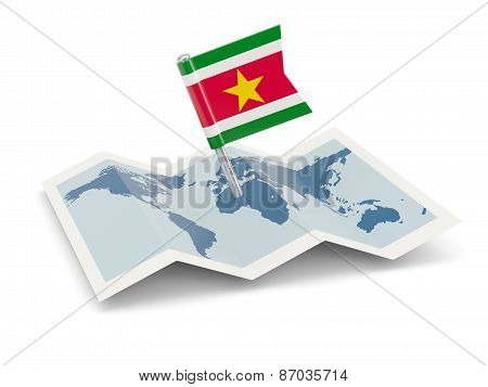 Map With Flag Of Suriname