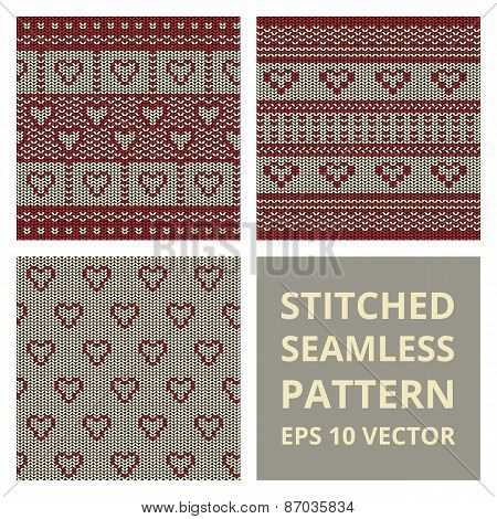 Fabric Stitched Background Pattern With Love Heart