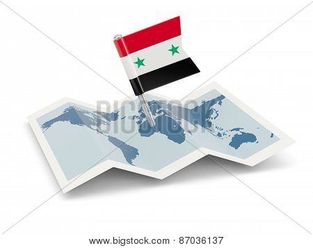 Map With Flag Of Syria