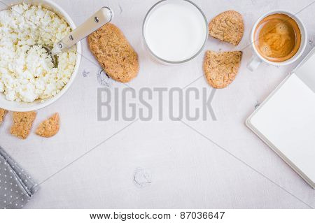 Healthy Breakfast With Cottage Cheese, Grain Cookies, Milk