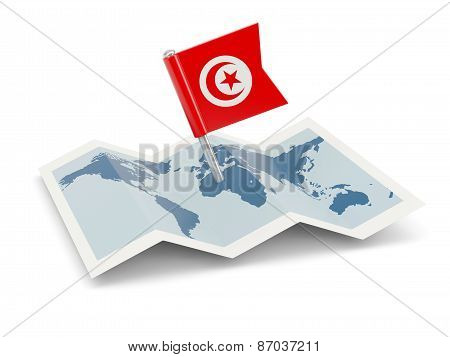 Map With Flag Of Tunisia