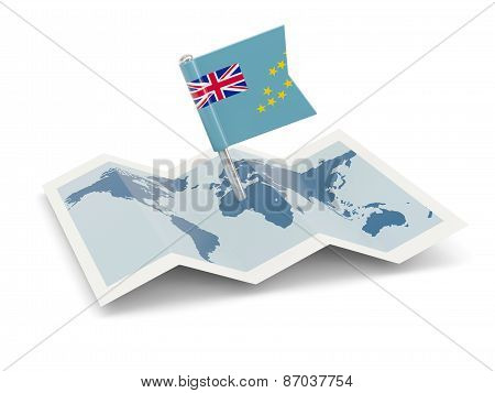 Map With Flag Of Tuvalu