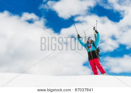 Girl Freeride Skier, Raises His Hands Before The Descent From The Top