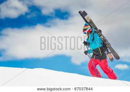 Girl Freeride Skier, Scale The Mountain Before The Descent