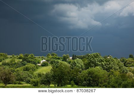 Storm Overcast Over Desolate Village