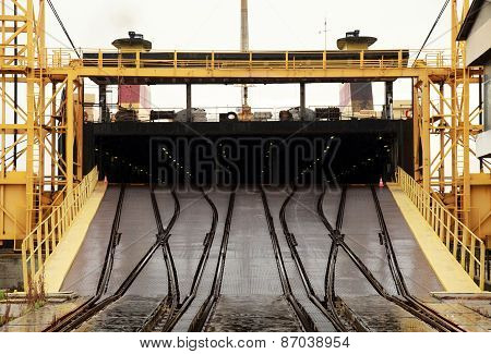Big Industrial Ro-ro Ship Is Loading. Railway Ramp